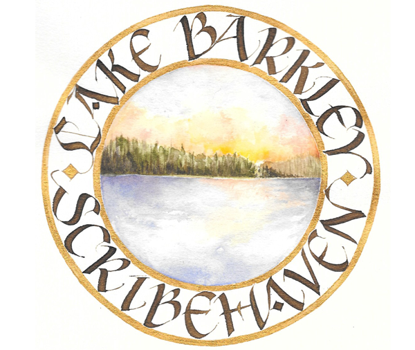 """Scribehaven"" by Vicki Brandt Walnut ink and watercolor on Arches text wove paper 5.5"" x 5.5"""