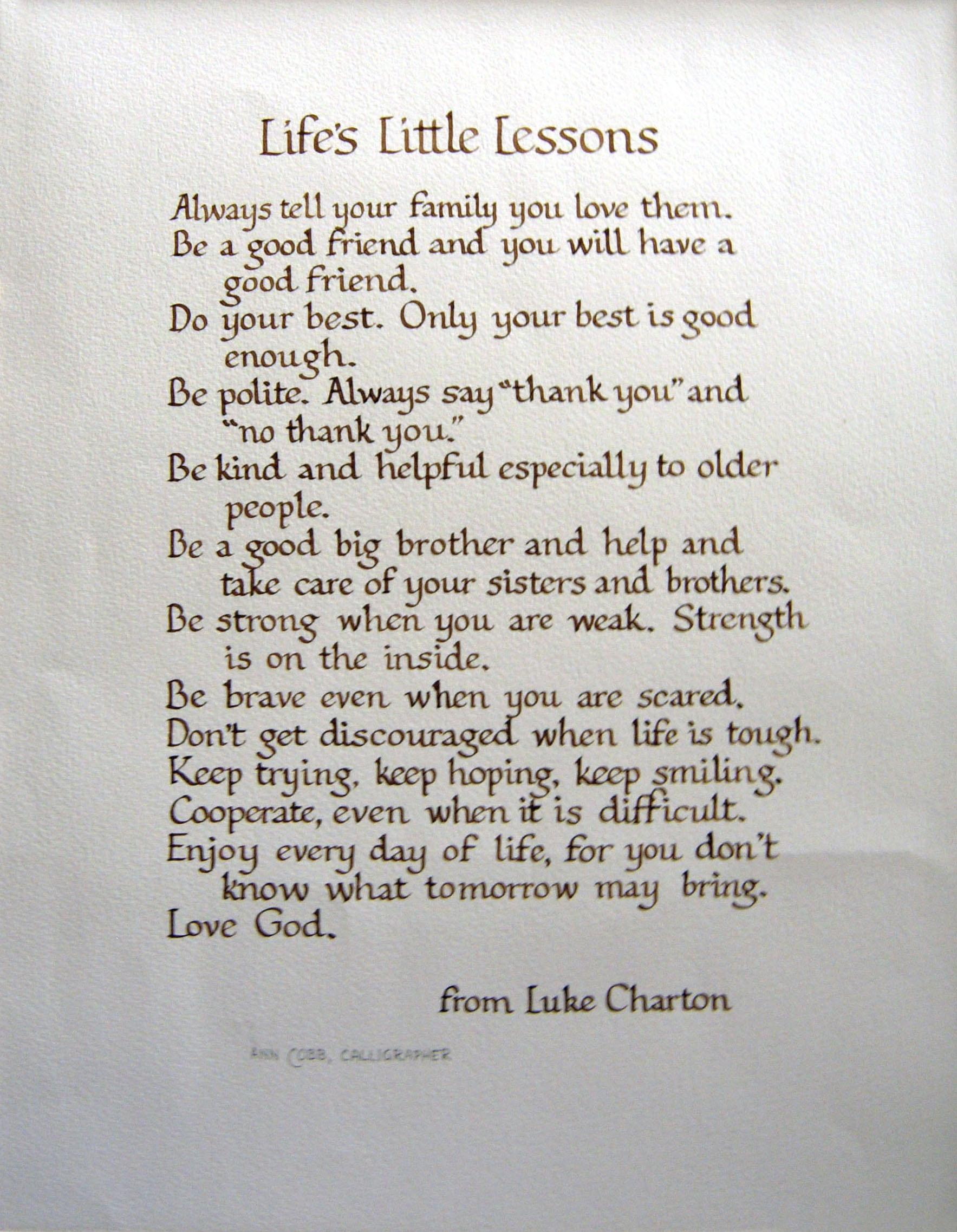 """Life's Little Lessons""by Ann Cobb"