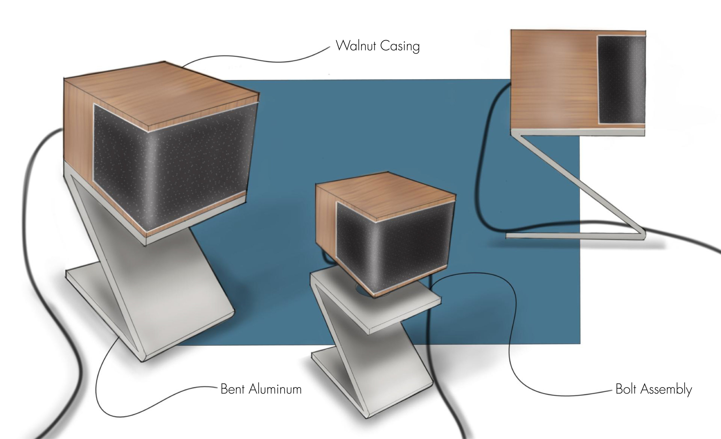 Mid-Century Modern Desktop Speakers