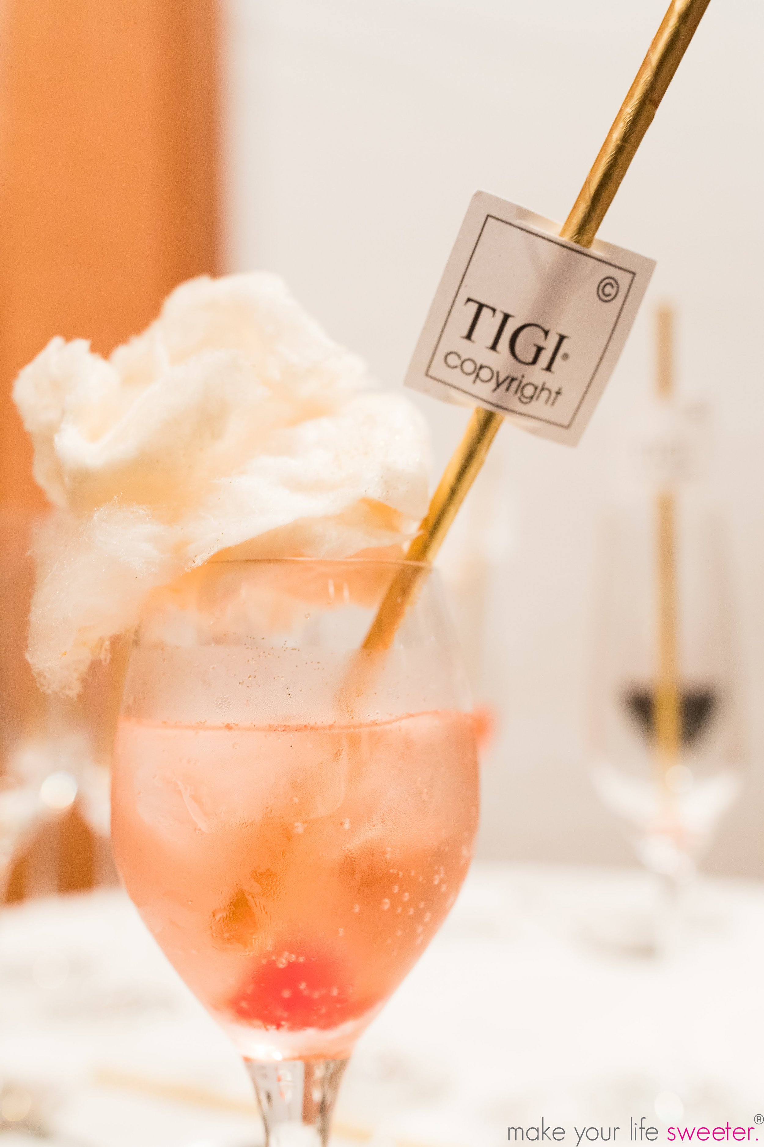 Make Your Life Sweeter Events - TIGI Copyright Event in Miami   Sugaire Organic Coton Candy Infusion Bar with Customized TIGI Hashtag Flags