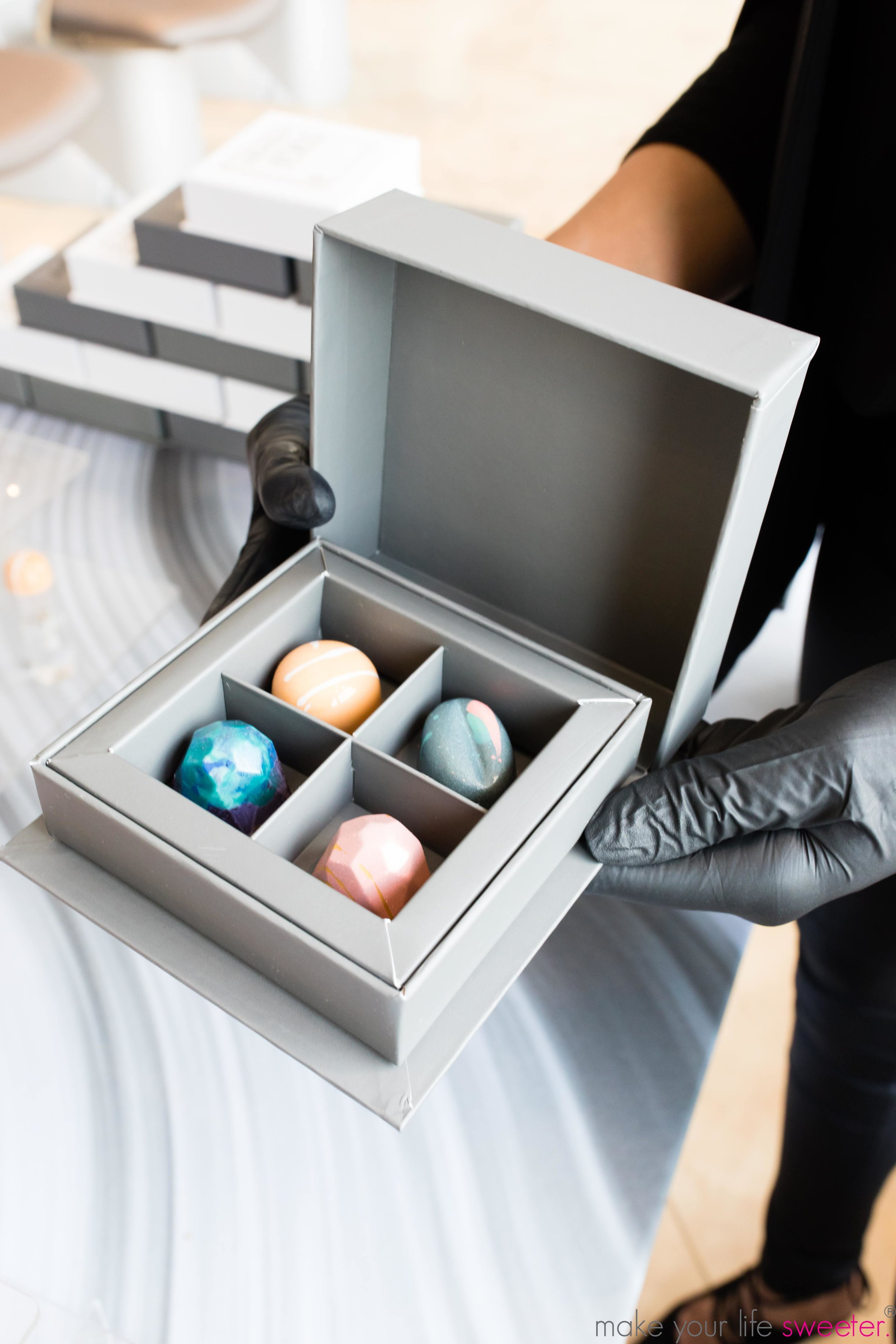 Make Your Life Sweeter Events - TIGI Fuga Centro Grand Opening - Artisanal Truffle Bar with customized TIGI Takeaway boxes