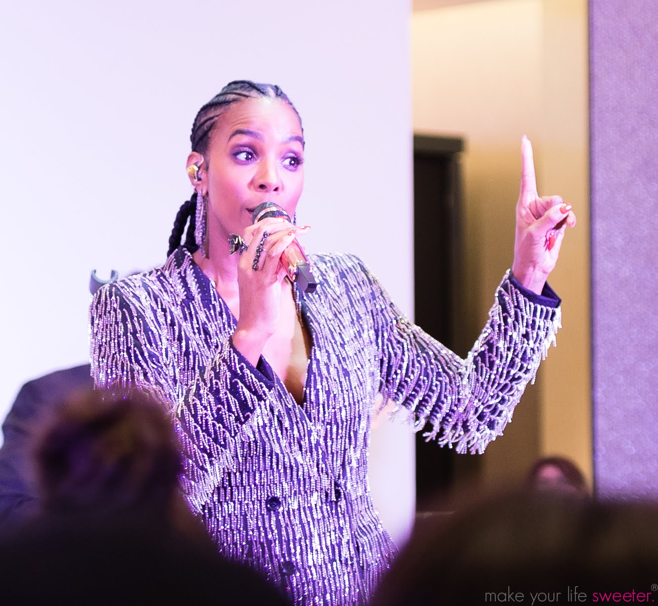 Kelly Rowland Performing at Neiman Marcus Hudson Yards Party - Make Your Life Sweeter Events -  Fluffpop Artisanal Cotton Candy Live Spin