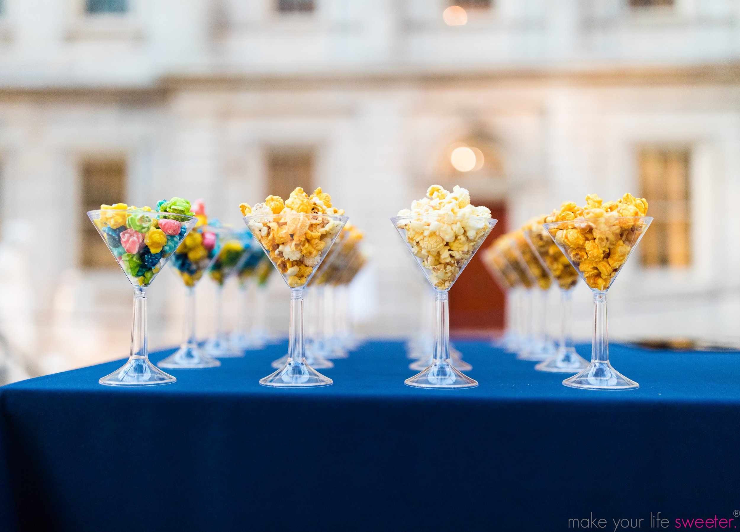 Make Your Life Sweeter Events - The Met Grand Tour - HotPoppin Gourmet Popcorn Bar served in Martini Glasses
