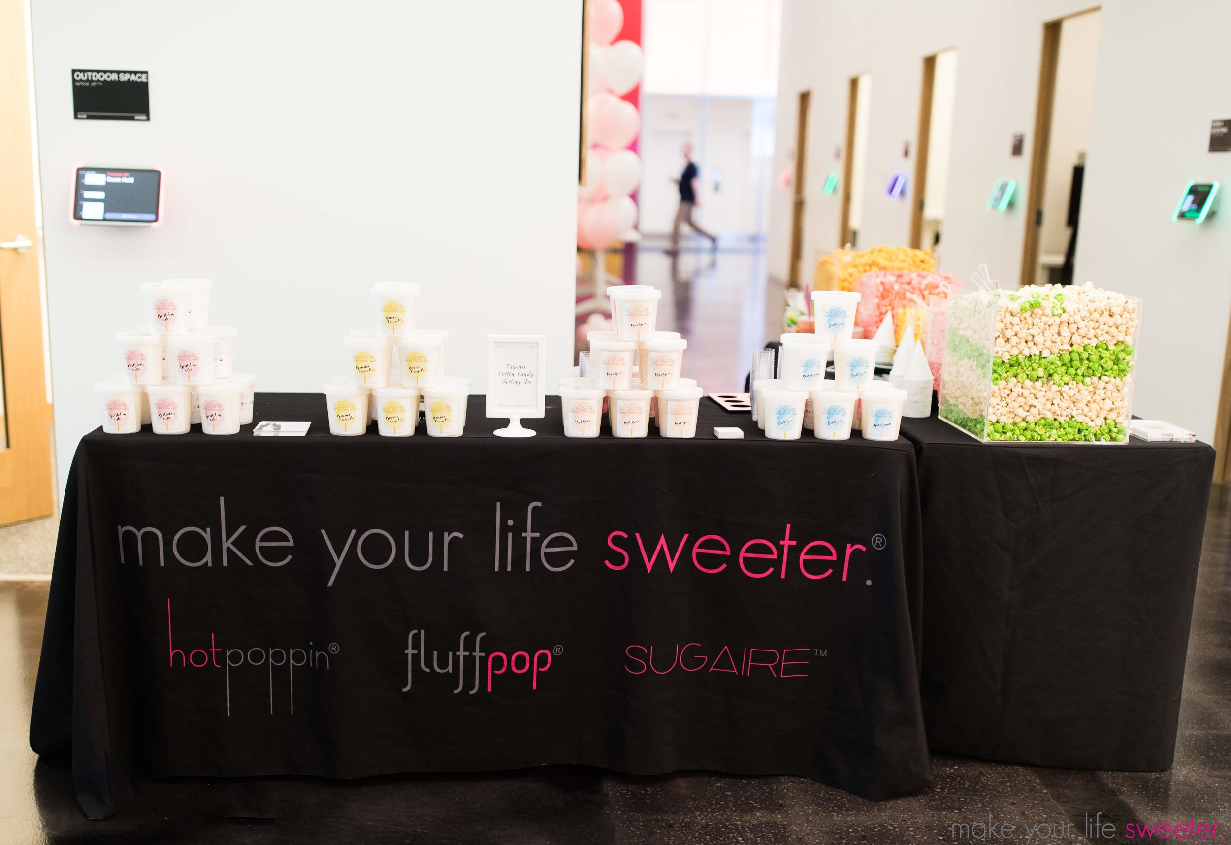 Make Your Life Sweeter Events - Facebook NYC - Sugaire Organic Cotton Candy Tasting Bar with Customized Facebook Hashtag Flags