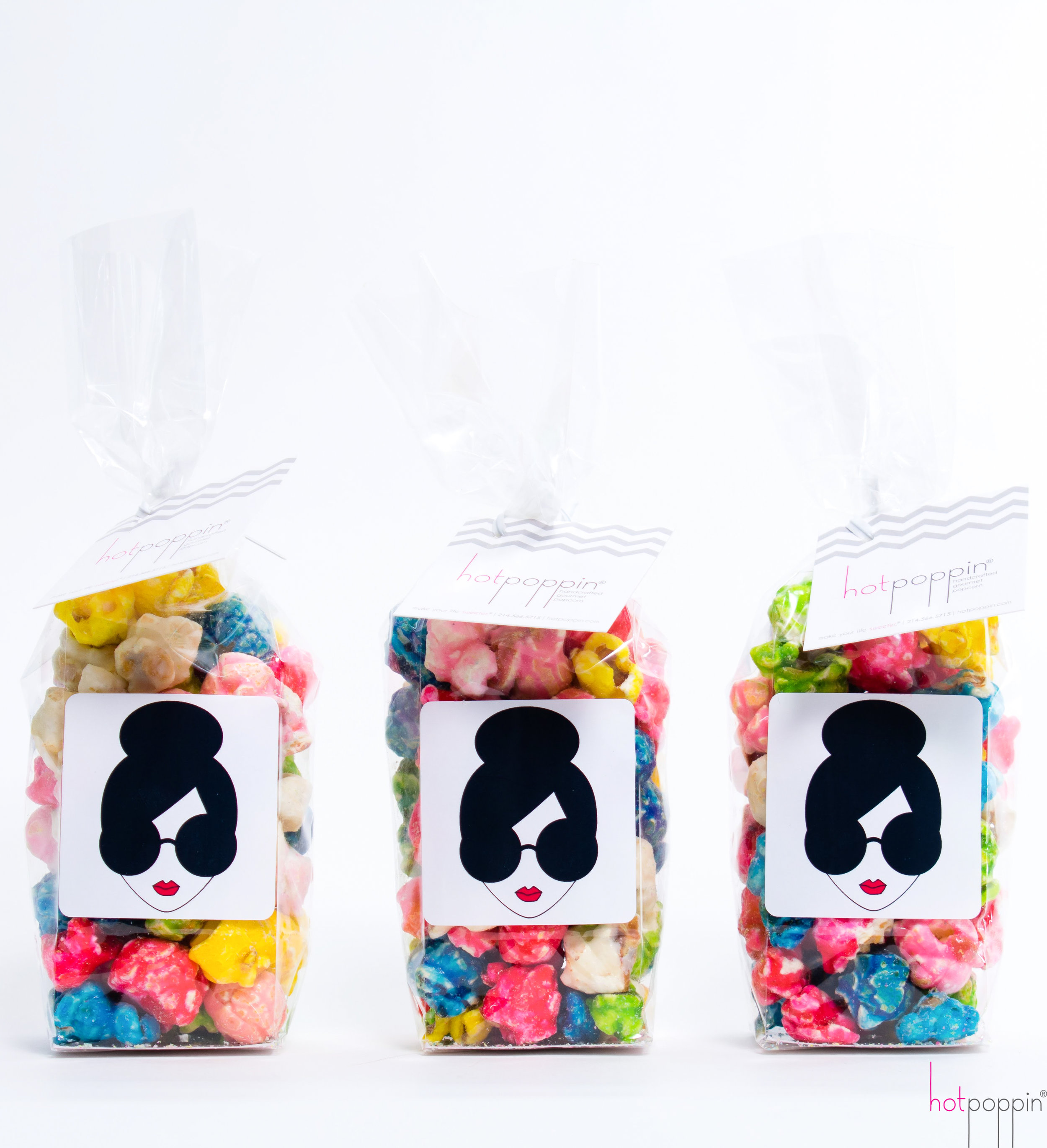 HotPoppin Handcrafted Gourmet Popcorn - Customized Alice and Olivia Bags
