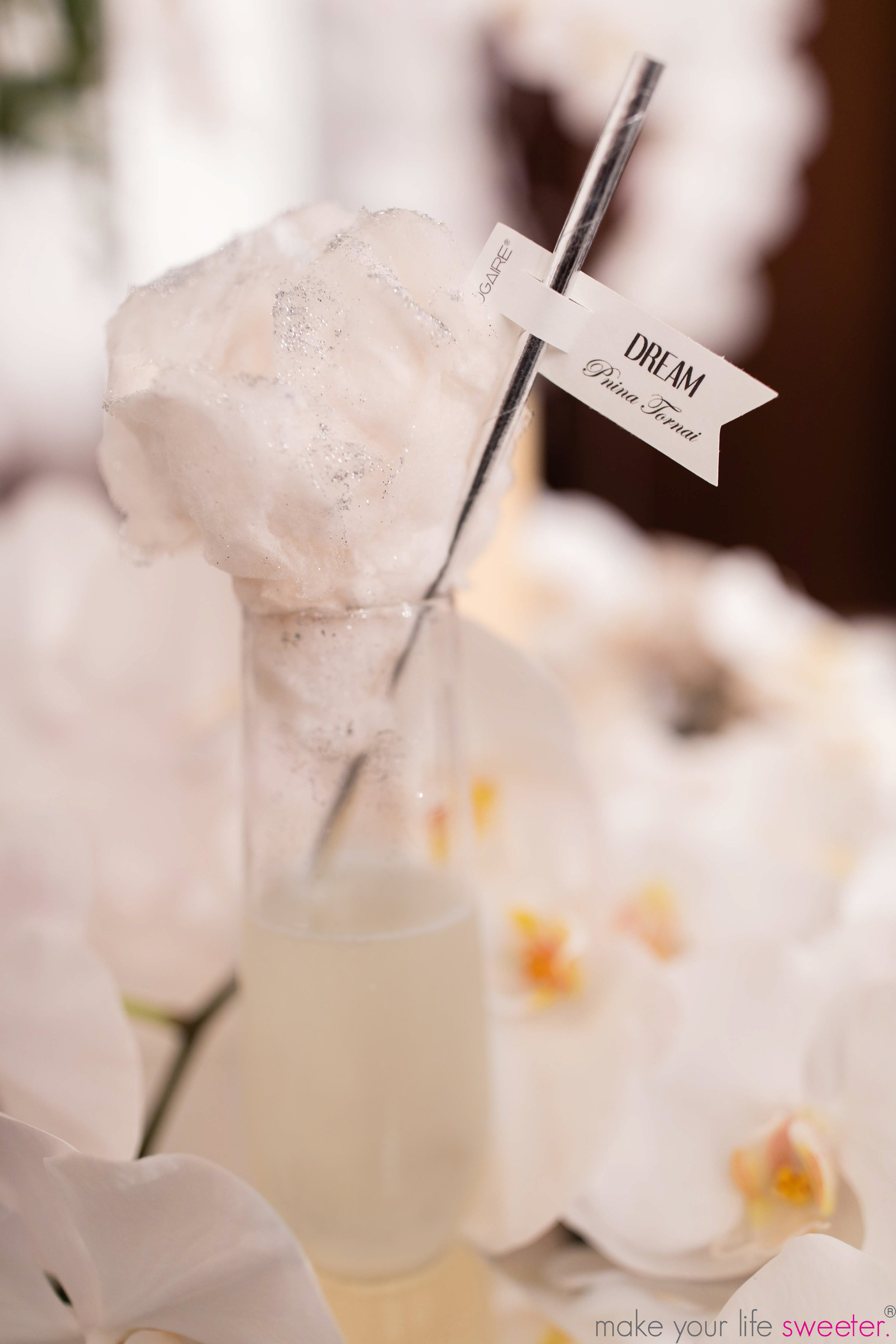 Make Your Life Sweeter Events - Kleinfeld's Annual Bridal Week Fashion Show - The Pnina Tornai Collection - Sugaire Organic Cotton Candy Infusion with Customized Hashtag Flags