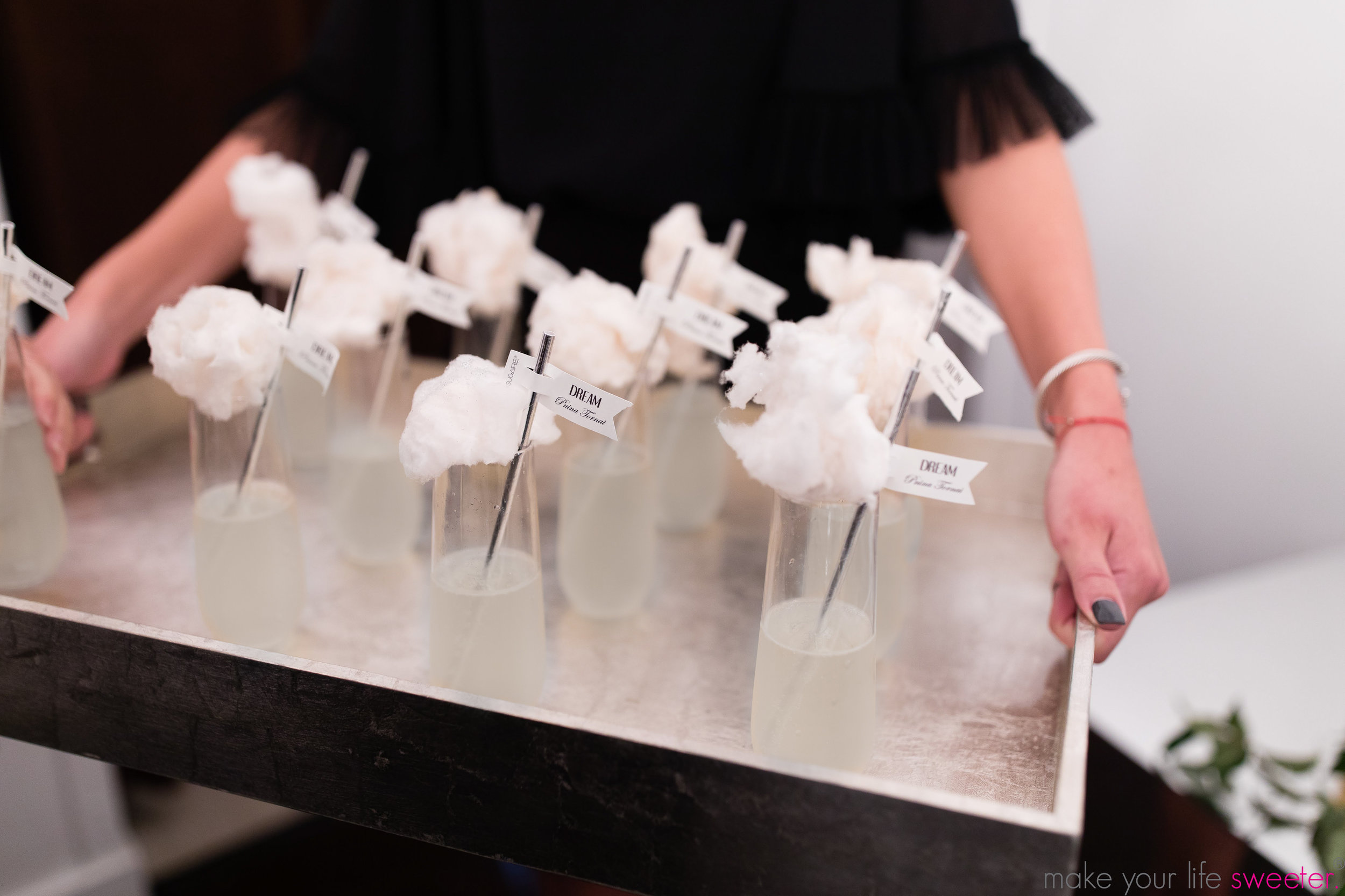 Make Your Life Sweeter Events - Sugaire Organic Cotton Candy Infusion with Customized Hashtag Flags - Kleinfelds Annual Bridal Fashion Show for New York Bridal Fashion Week - The Pnina Tornai Collection