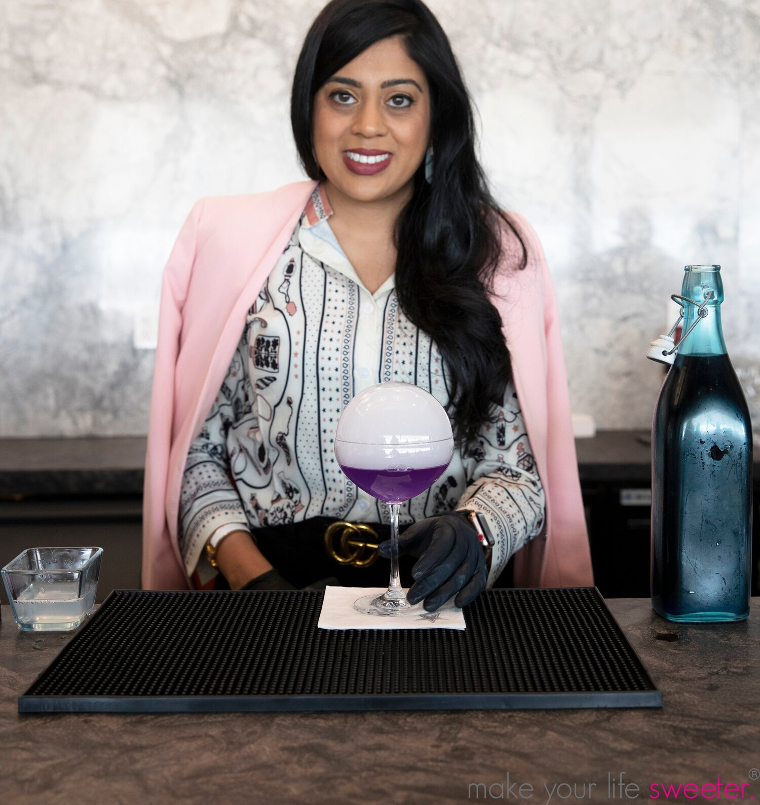 Yasmeen with her newest creation the Zphere- flavored edible vapor bubble