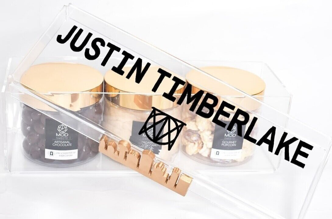 MODSWEETS CUSTOM 3 PIECE KEEPSAKE BOX FOR JUSTIN TIMBERLAKE