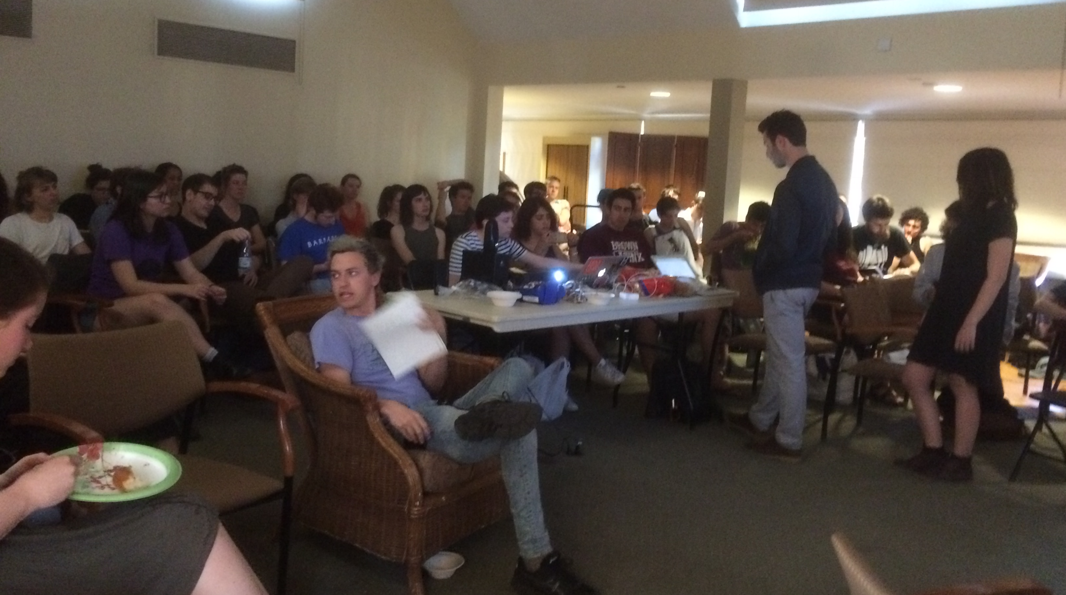 Students gather in Brown/risd Hillel for the event.