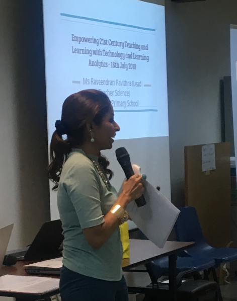 Mdm Pavithra, Lead Teacher of Endeavour Primary School sharing their on-going effort to integrate learning analytics into the KB Professional learning conversation to help teachers understand the quality of the ideas written by students.