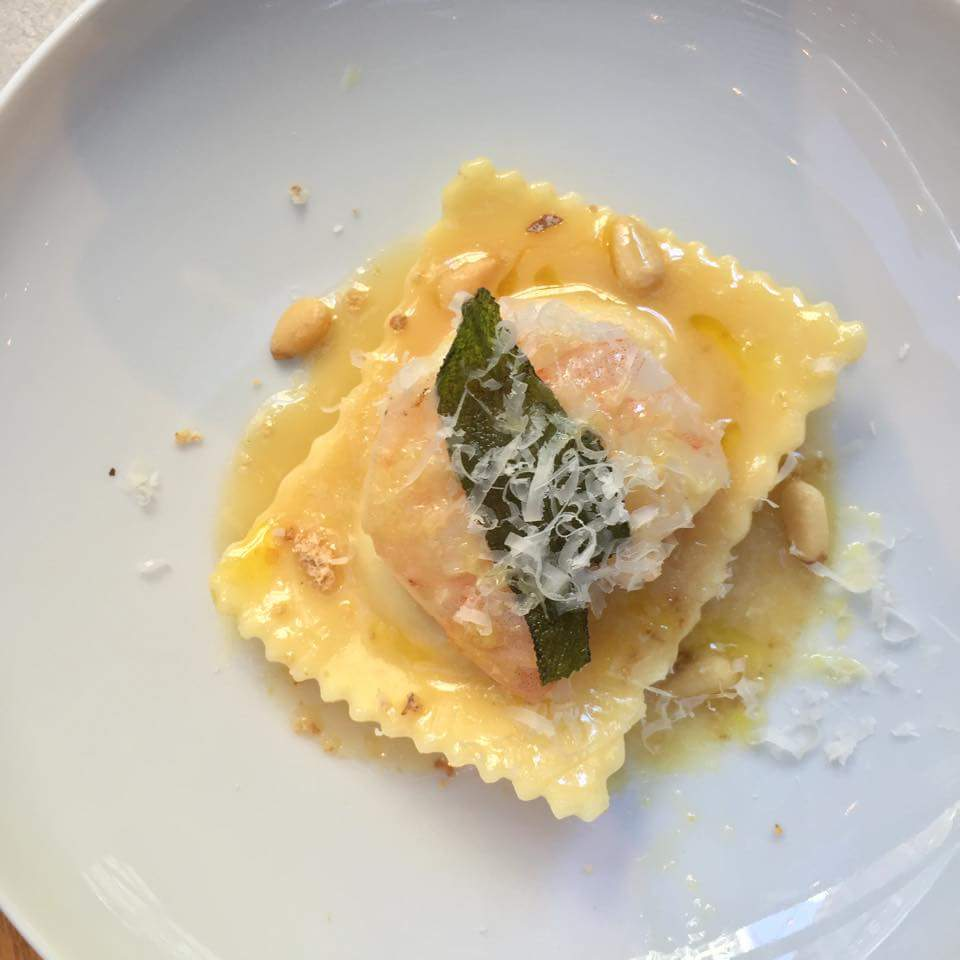 Ravioli + Prawn Trio   - butternut squash and mascaropone ravioli, truffle butter sauce, sauteed jumbo prawns, pine nuts. Cost - $14.50.