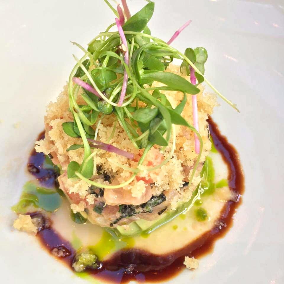 Tuna Stack   - ocean wise albacore, citrus tamari vinaigrette, nori, sesame, avocado, micro cilantro, wonton chips. Cost - $16
