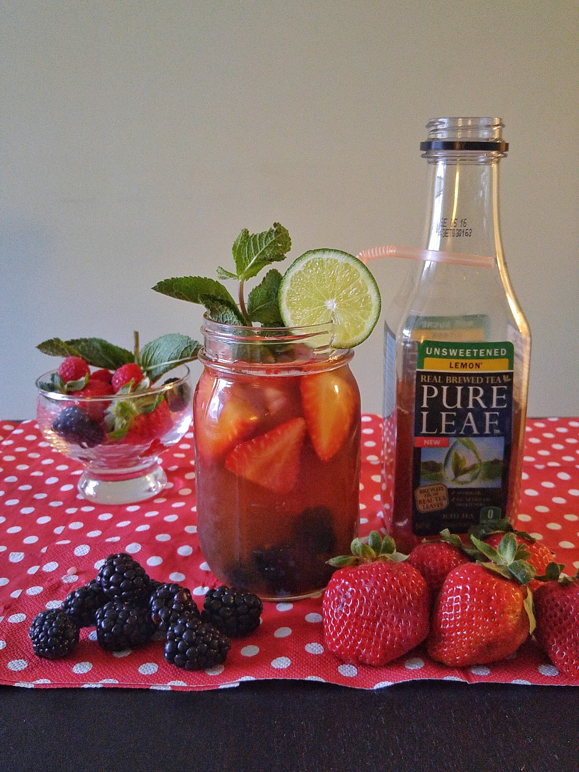 Strawberries + Blackberries mixed with Unsweetened Pure Leaf Lemon Tea