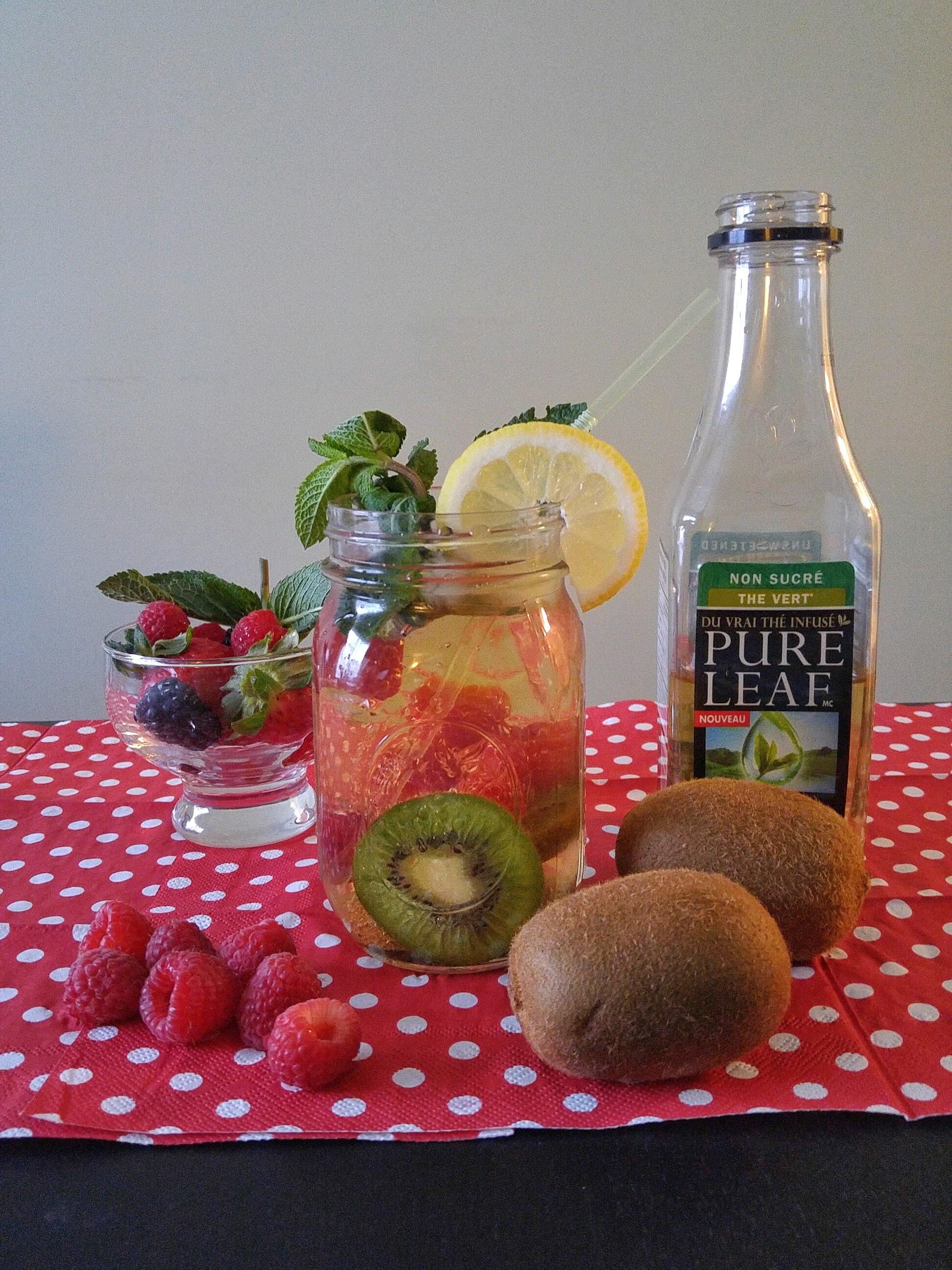 Kiwis + Raspberries mixed with Unsweetened Pure Leaf Green Tea