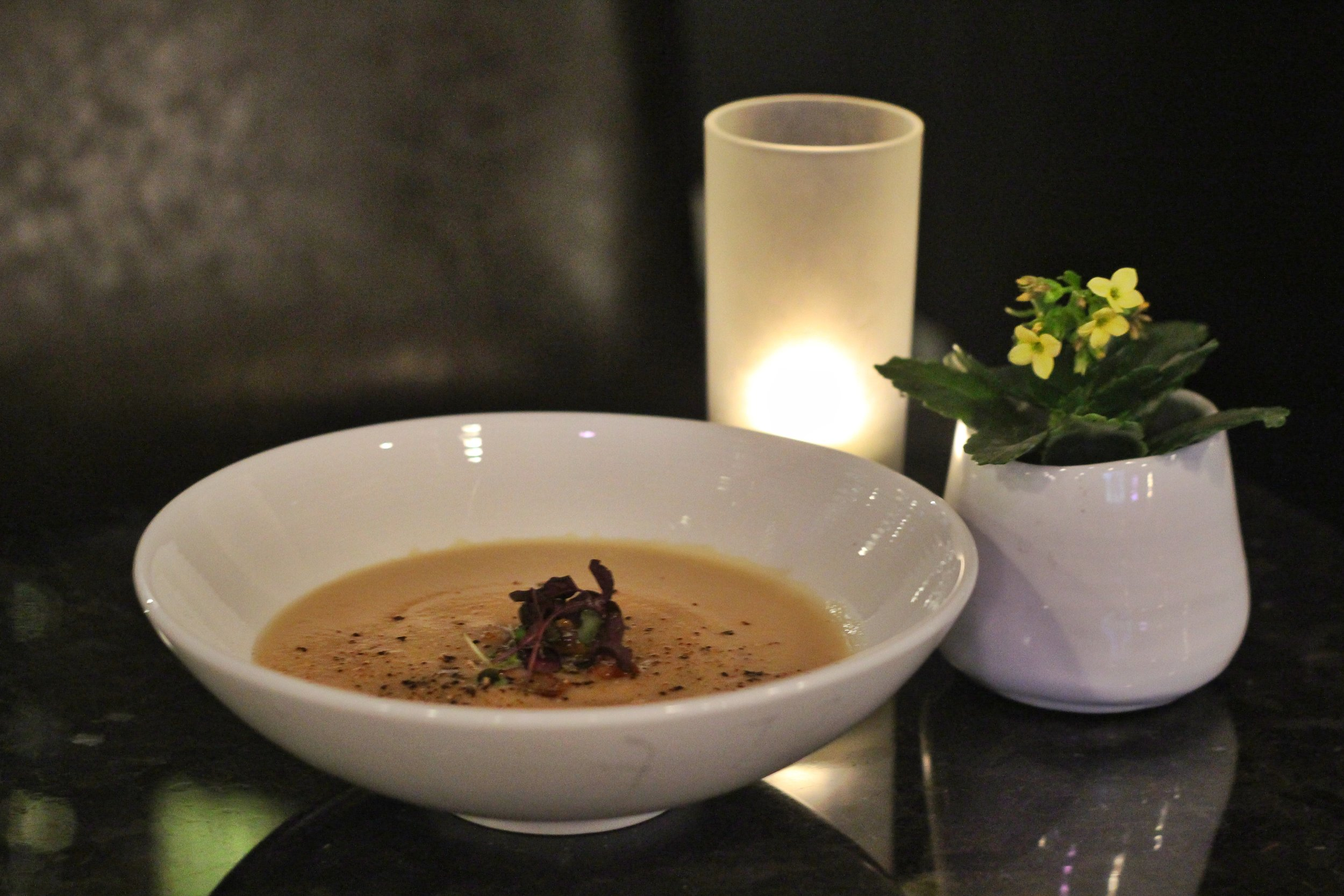 Maple Roasted Parsnip & Cauliflower Soup  - horseradish cheddar, double smoked bacon