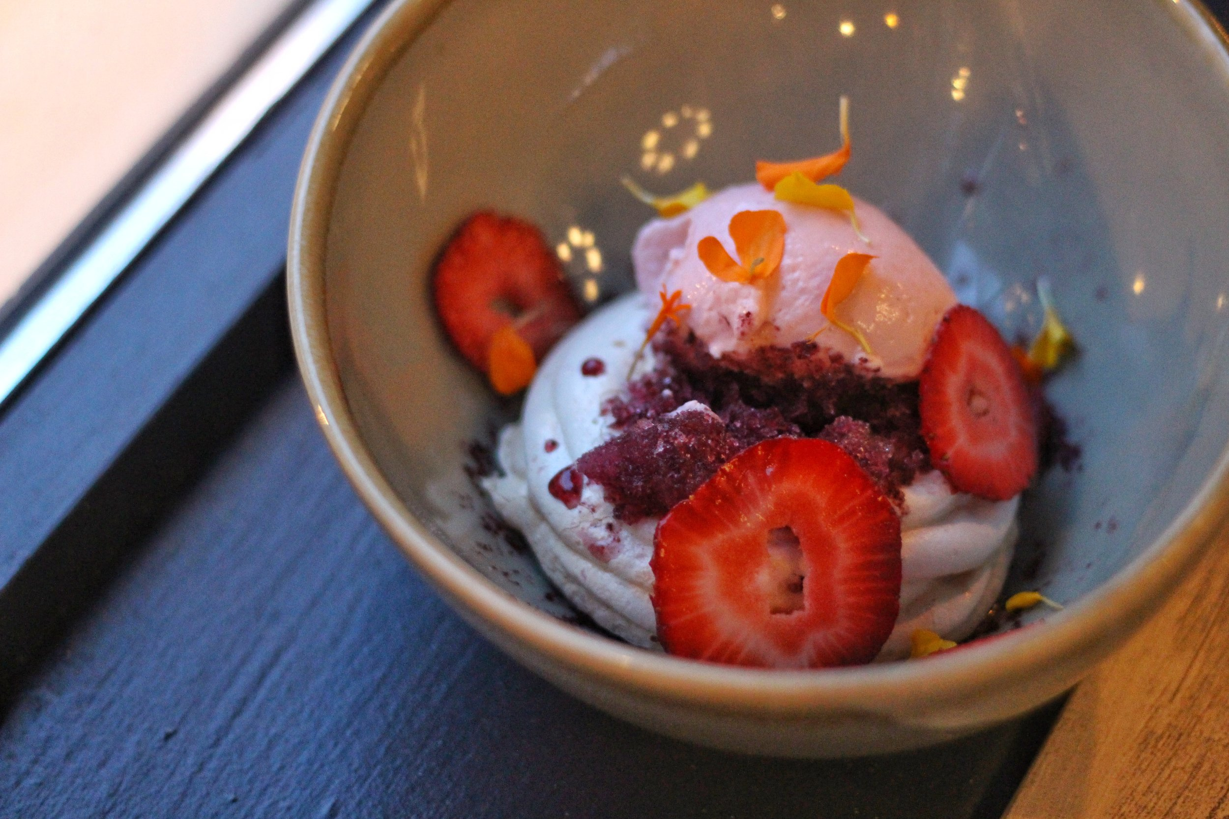 Berries & Cream  – pavlova, vanilla custard, lavender blueberry granite, strawberry mousse, seasonal berries