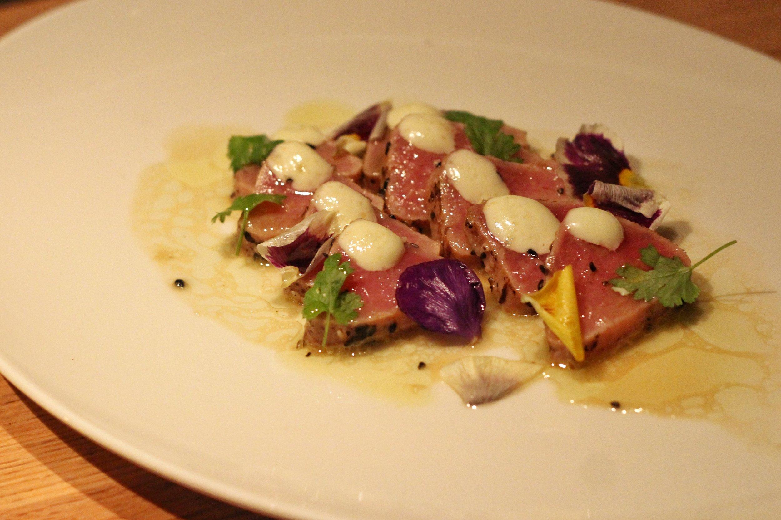 Seared Ahi Tuna Sashimi  - wasabi aioli, cilantro, yuzu soy vinaigrette