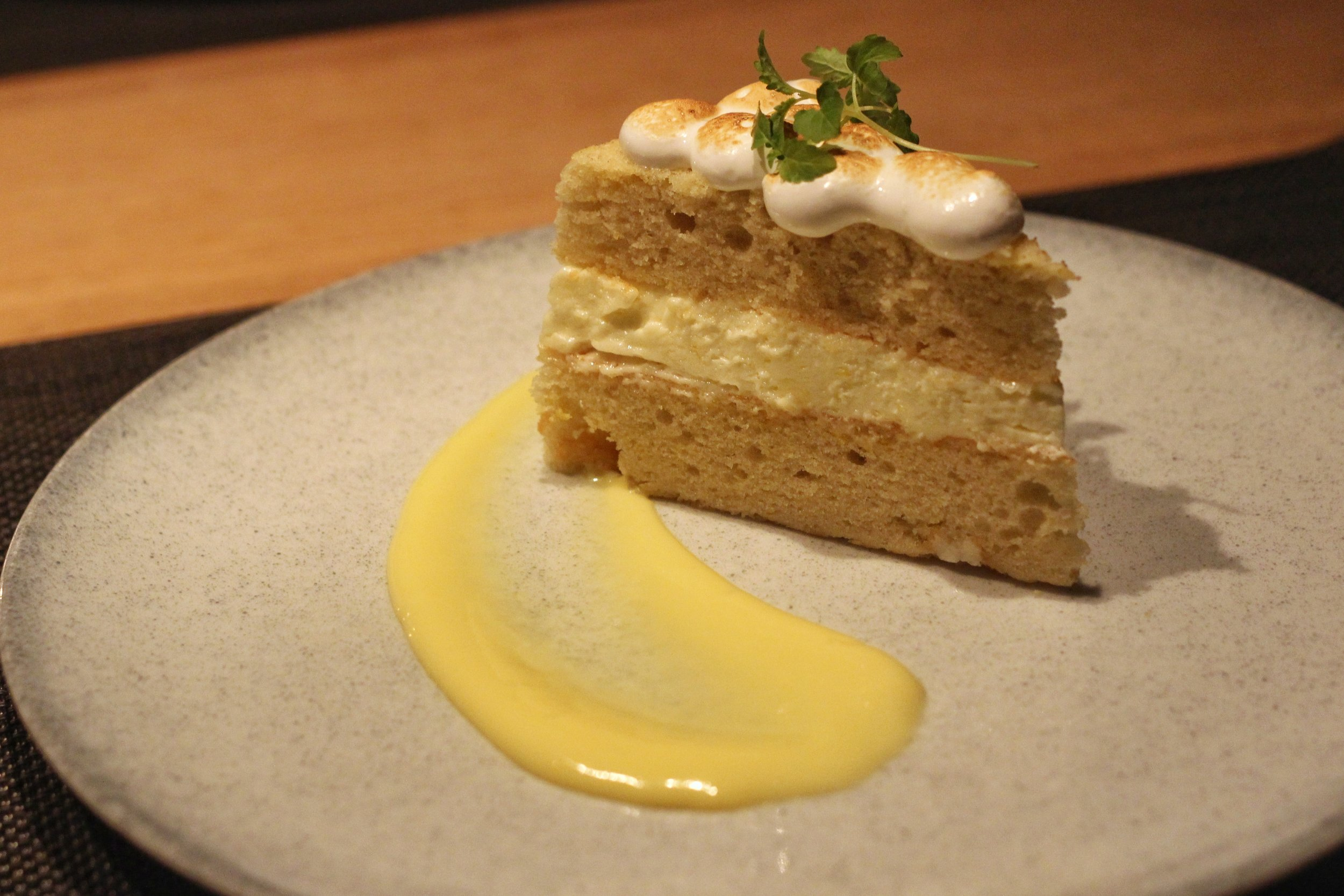Lemon Meringue Cake  - lemon curd, lemon sponge cake, toasted meringue