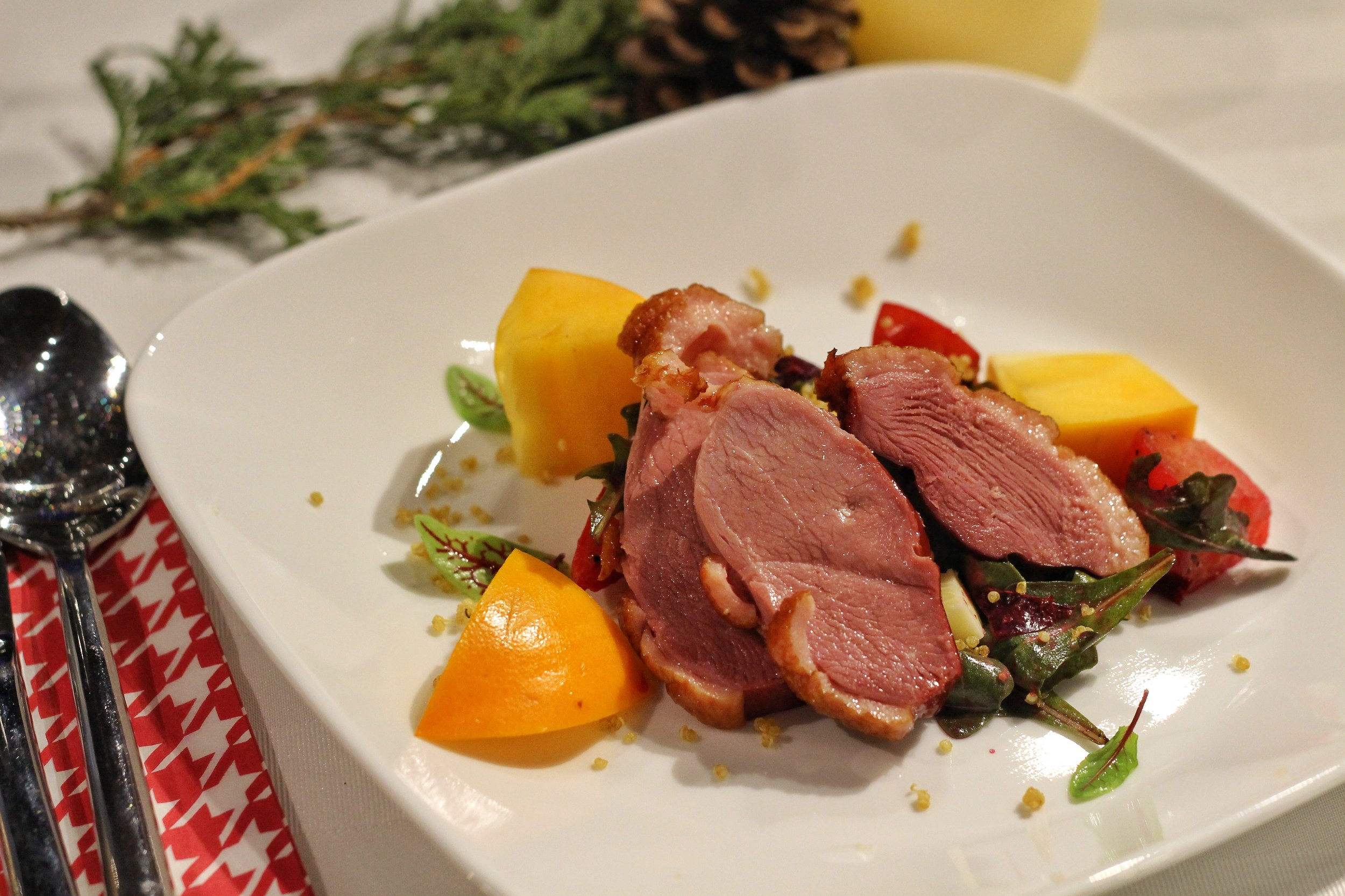 King Cole Farms House Smoked Duck Breast Salad  - Baby Beets, Persimmon, Blue Cheese, Arugula, Quinoa & Lemon Parmesan Dressing