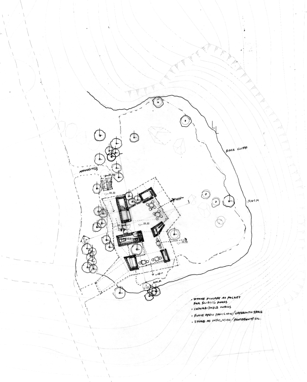 华黎勾勒的岩景茶室地形图