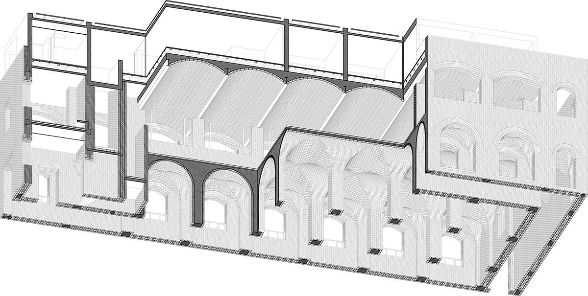 東側主體建筑剖軸側 ?TAO