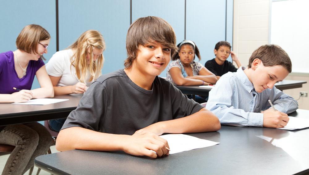 School Kids in Class - Wide Banner