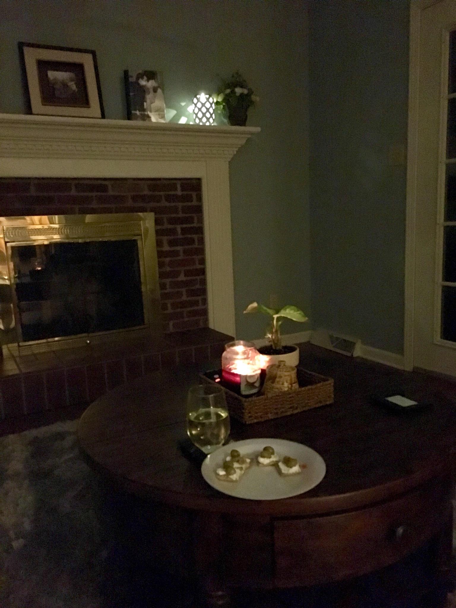 Late night wine and cream cheese crackers.