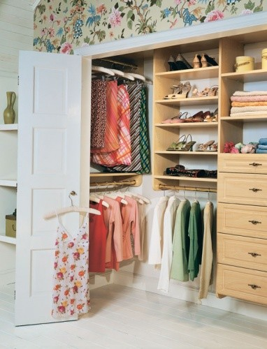 - By moving and stacking short hanging to the sides of the closet, there is much more room for functional storage in the middle such as shelves and drawers.Hint: Clothes take up much less room folded than when hanging.