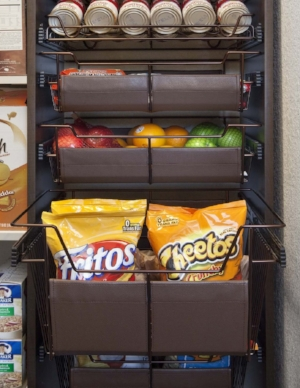 - Keep fruit and fragile groceries from being crushed in cramped pantries with sliding baskets. Organized and safe.