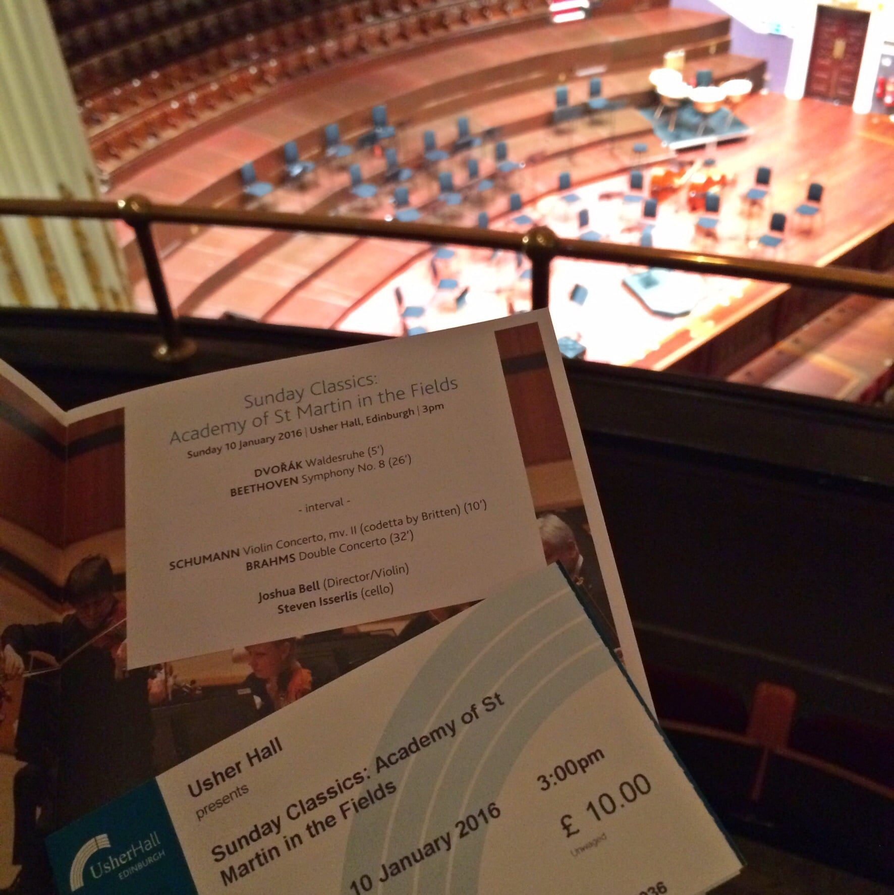 My ticket and program from the performance this afternoon.