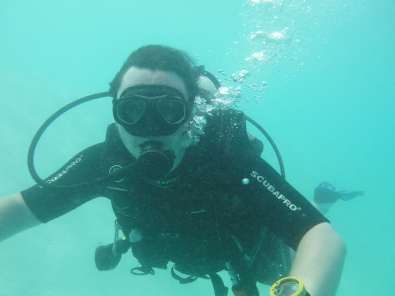 In the lagoon. The camera couldn't go down to 40'…..