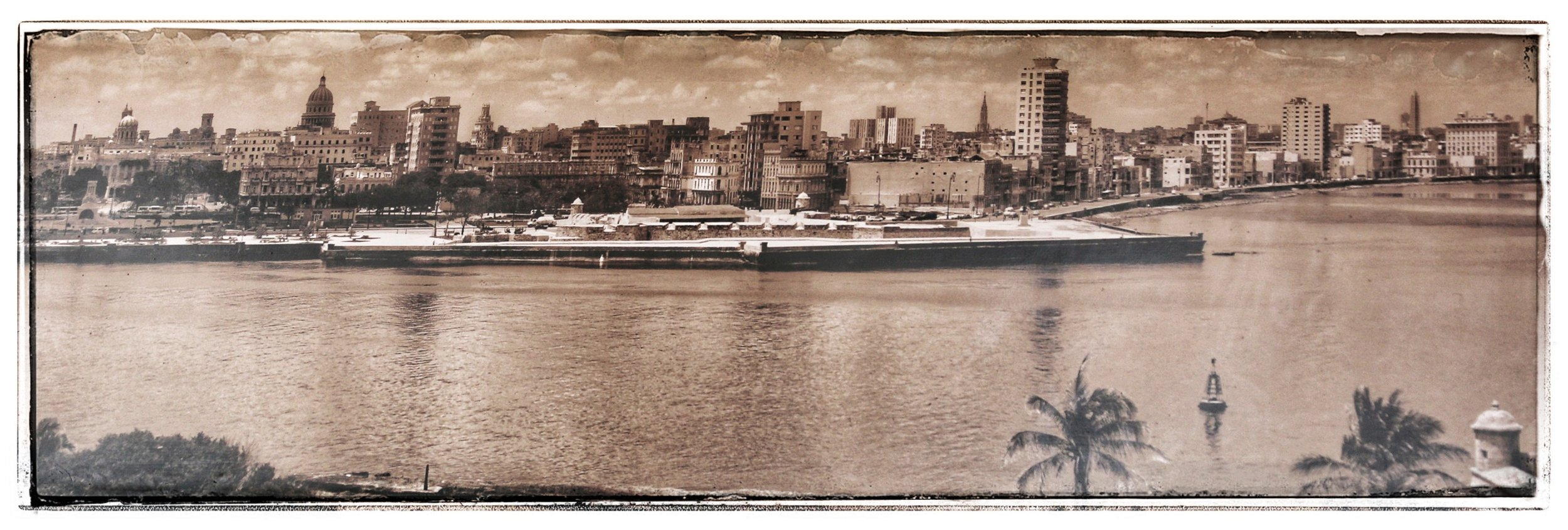 View of Havana and the harbor (from a poster in a restaurant).