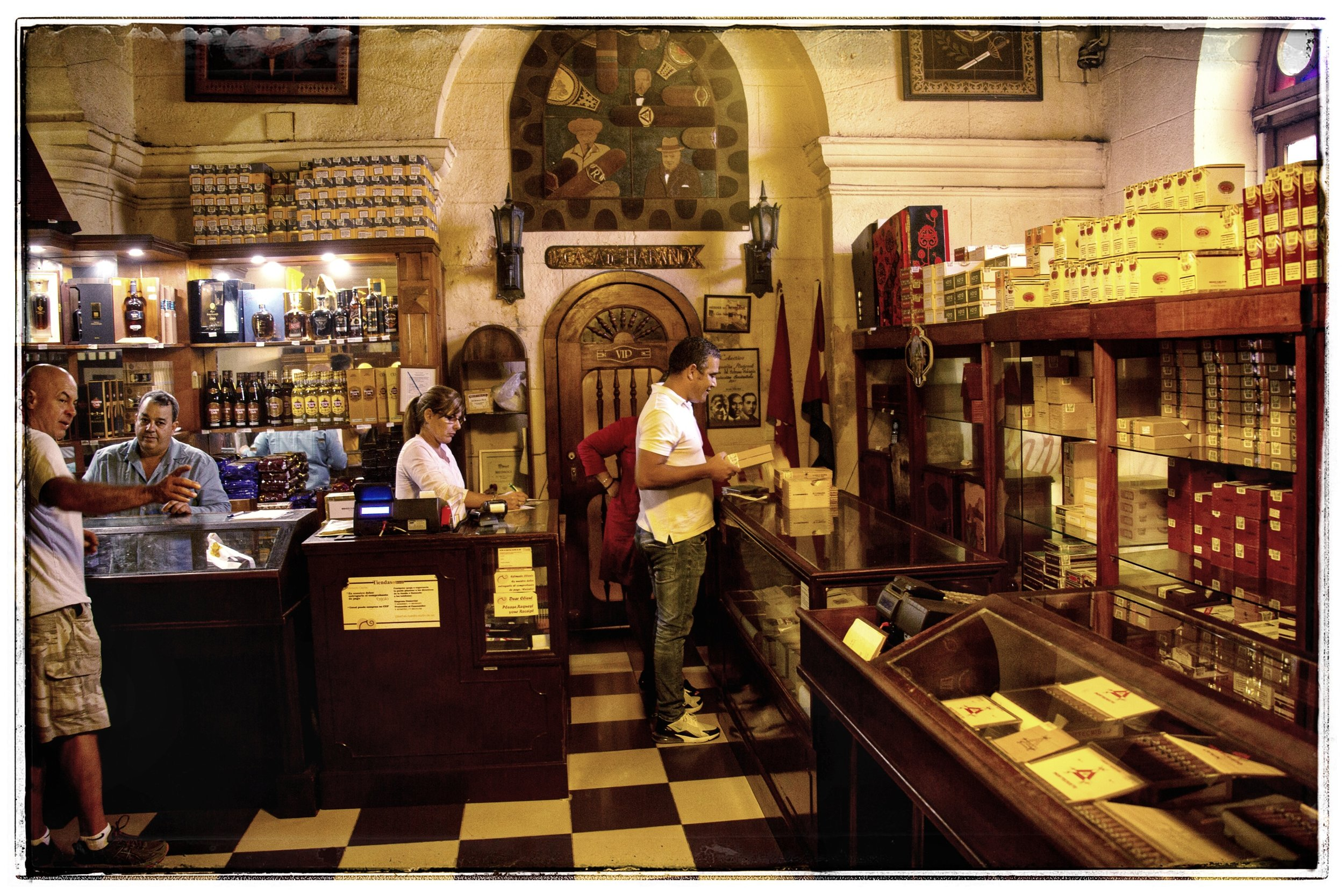 This is the government run Cigar store, where a Cubano was being sold for $145.
