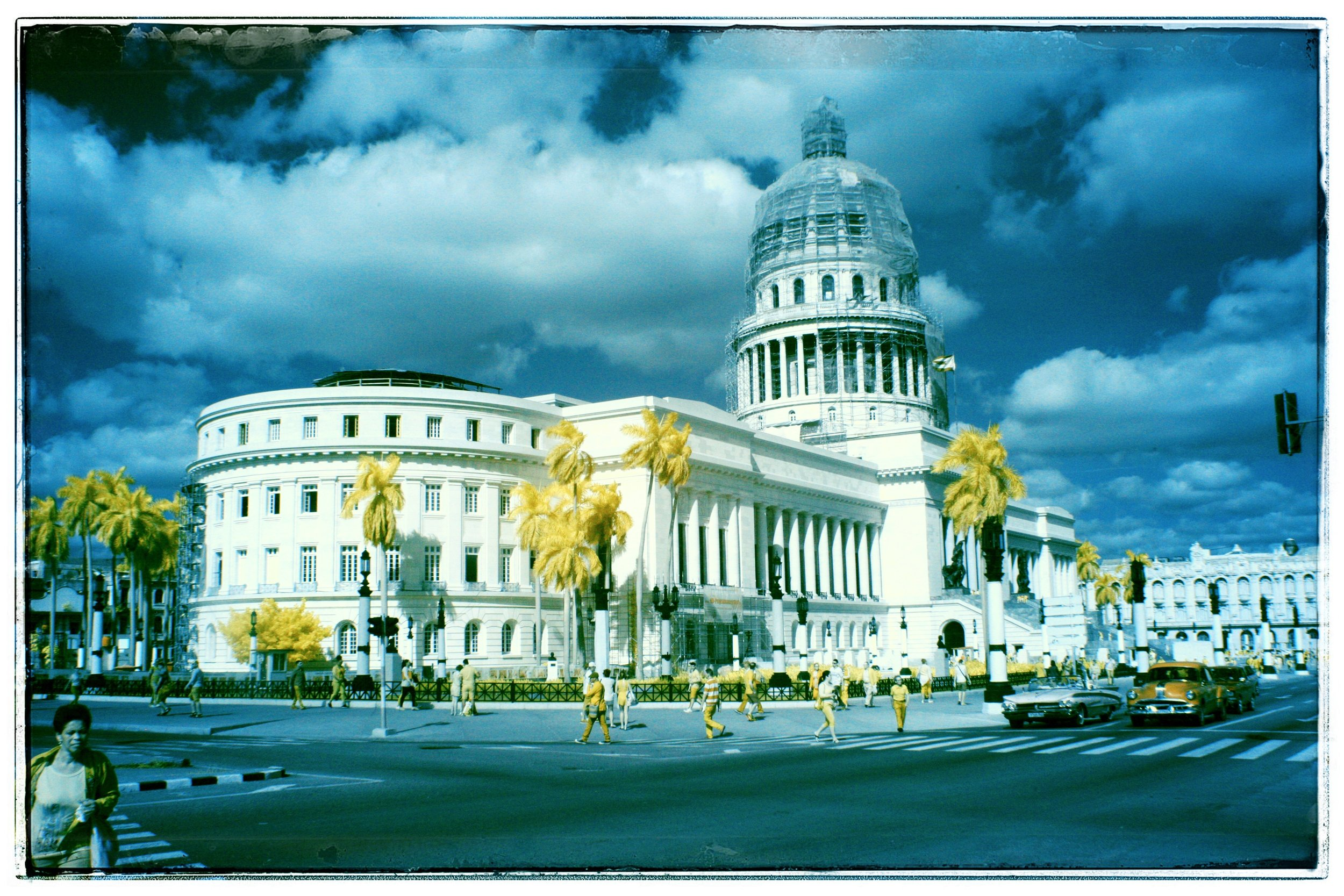Color infra red image of the Capitol, one foot taller and longer than ours.
