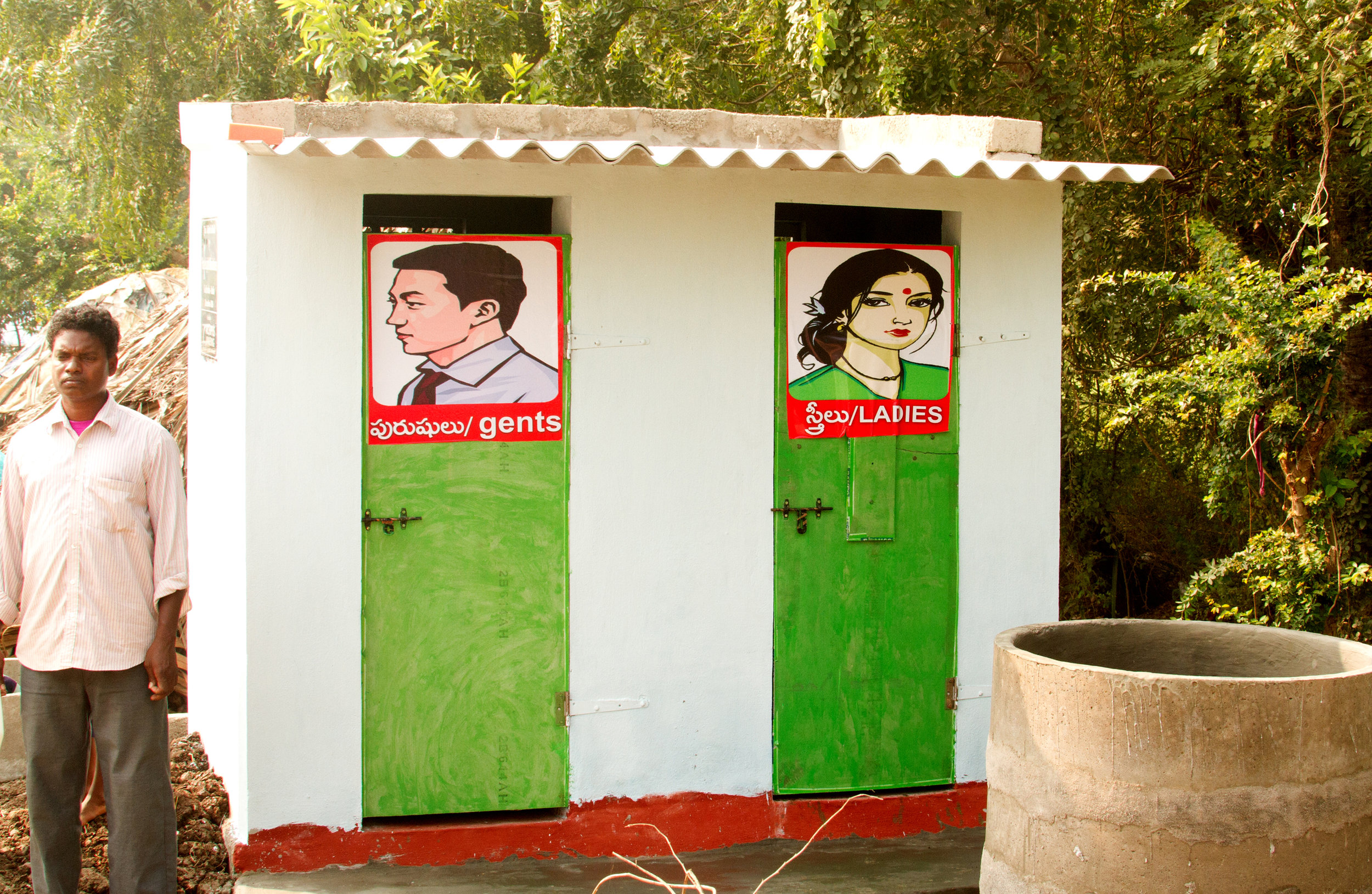 The restroom was built in one of the untouchable camps (usually 30-100 folks).