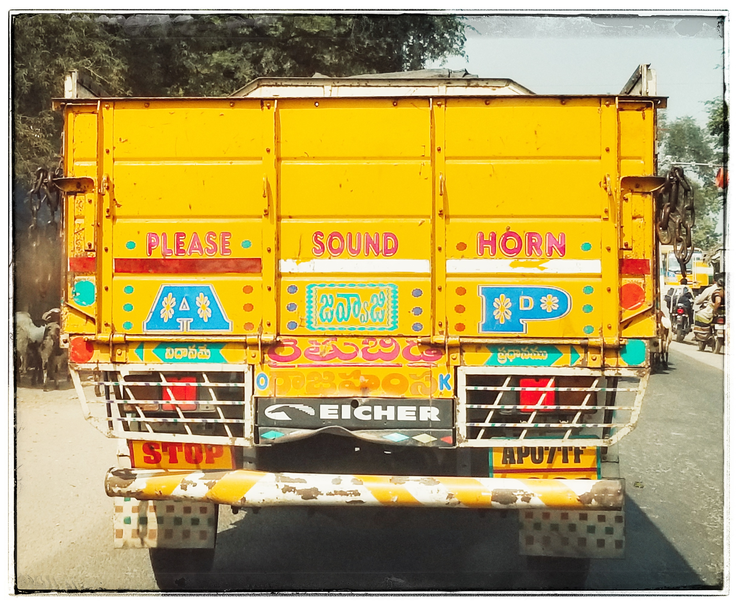 Trucks encourage honking so they know where you are.