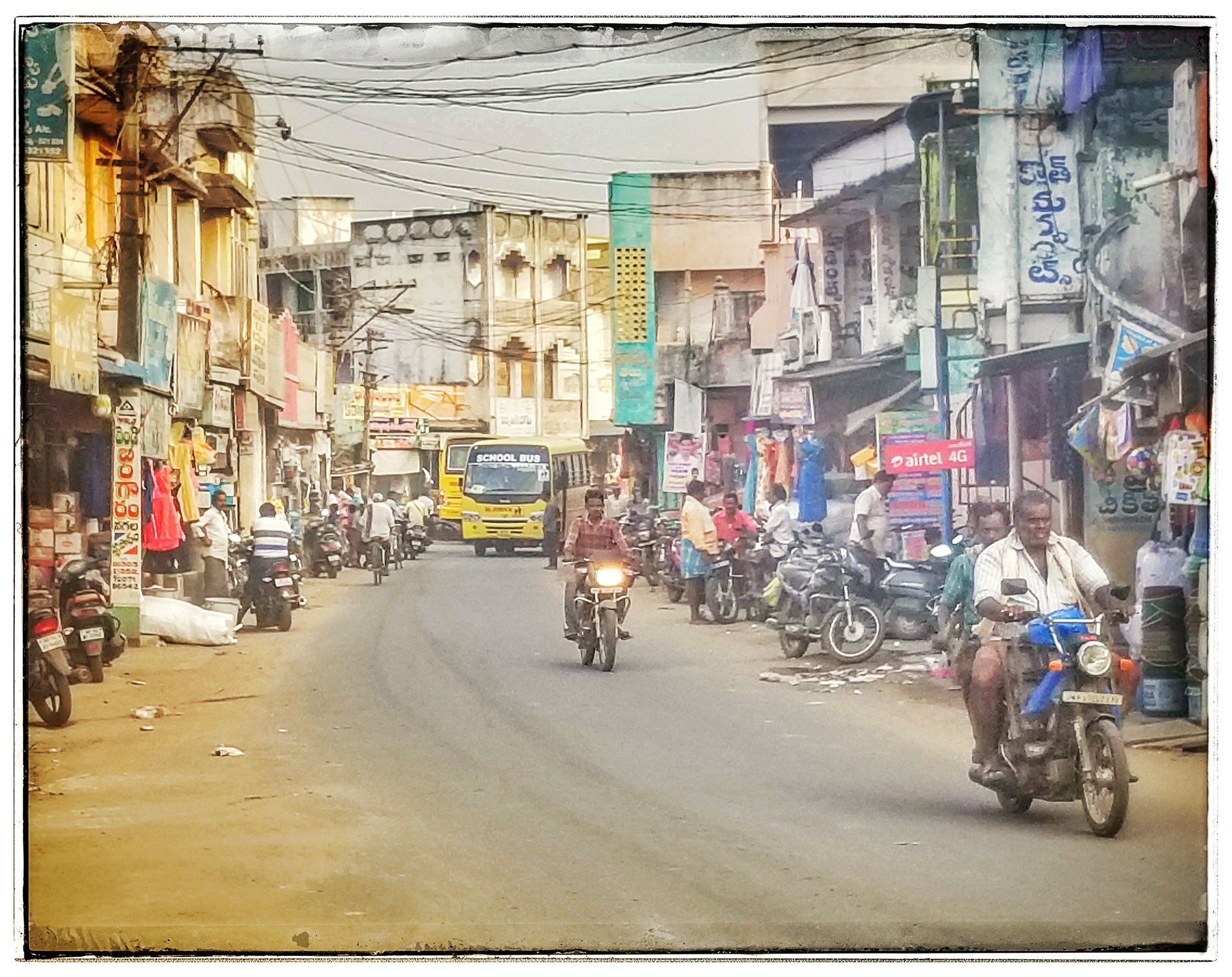 Typical street scene in southern India. I was often gawked at as many had never seen a white person. Even gave out my autograph!