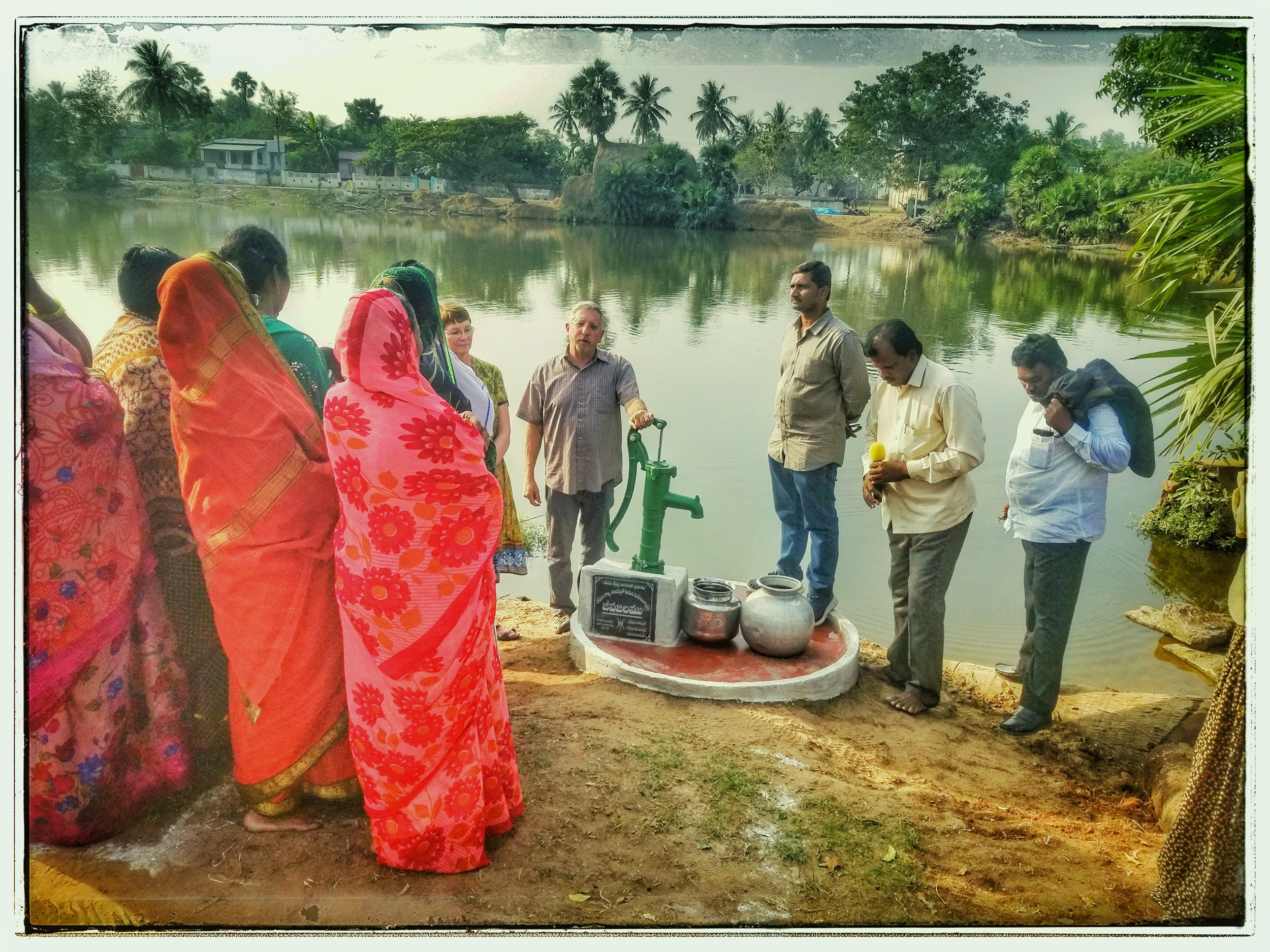 Dedication of a new water well with another local pastor.