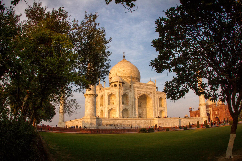 Taj Mahal at Sunset Agra India photographs travel head shot and family wedding photographer Eugene Oregon