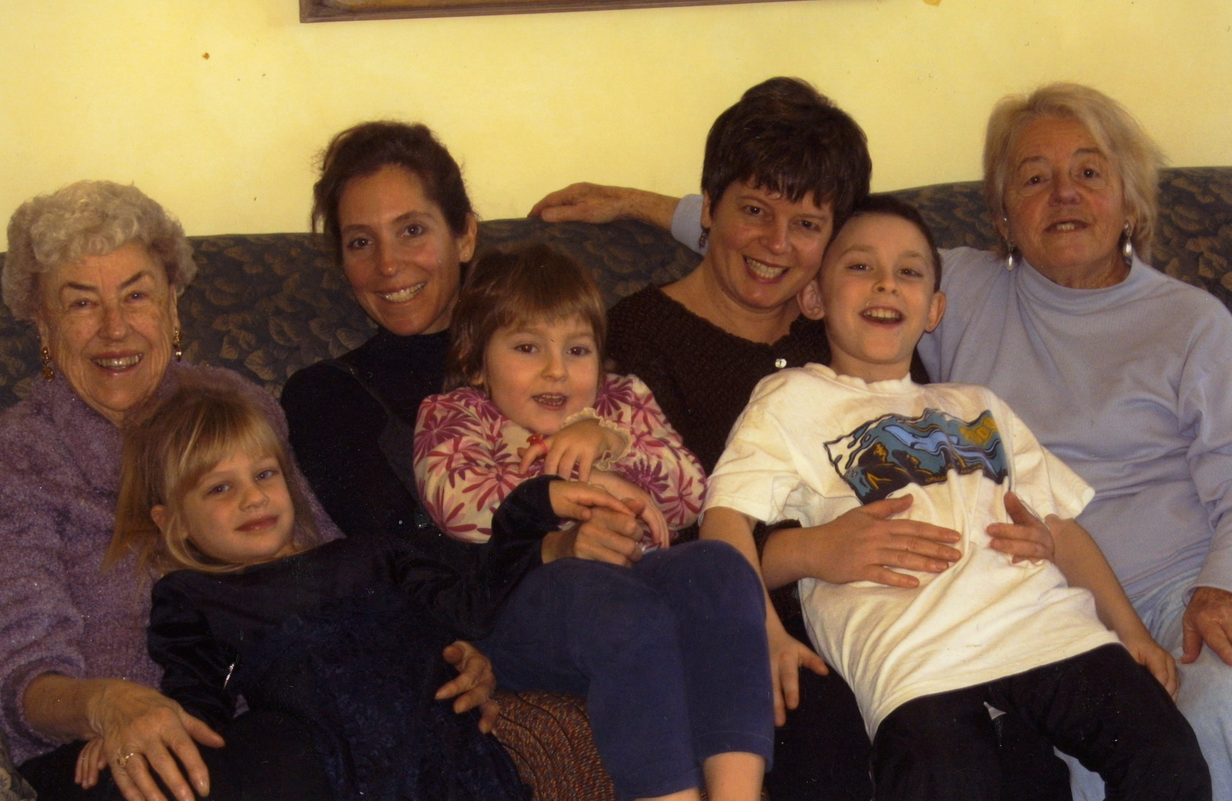 My mom, My sister -in-law, Sherri and her mom with my niece (Jill, left), Sophia and Harrison.