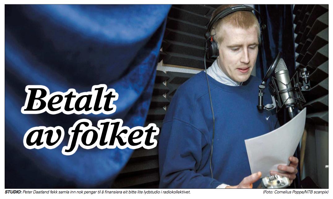 FOLKEFINANSIERING:  Lokalaviser landet rundt lot seg fascinere av at vi samlet inn fem lapper til mini-studio. Skjermdump: Sogn Avis/NTB.