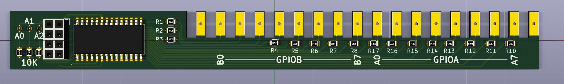 16-Channel I2C Relay expander V1.0 Kicad Render Front