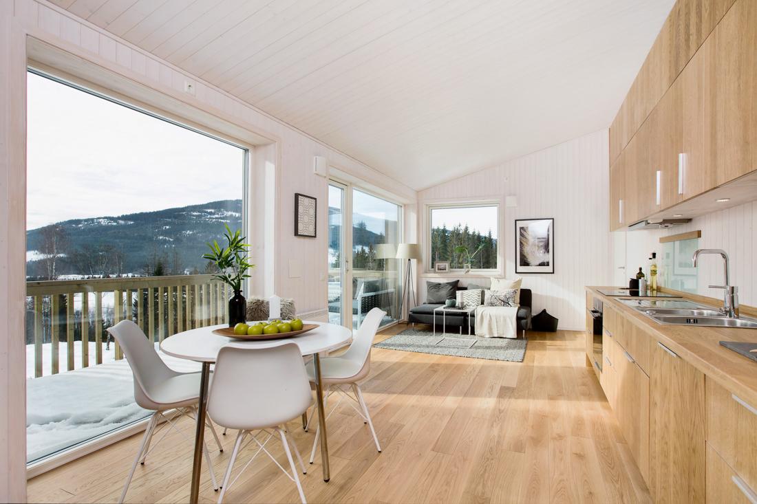 Stue leilighet med utrolig utsikt, heltre gulv i eik og kjøkken i heltre eik
