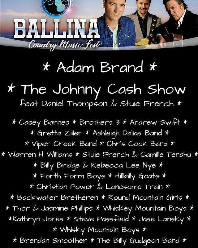The artist lineup is almost finalised and it looks AMAZING - don't you think?  There are a few more surprises to come - 2018 is going to be awesome 😎  For more info check out the FB page and the website - link in bio!  #countrymusic #livemusic #supportlocal #australianmusic @adambrandofficial @cherrystreetsports @westowertavern @shawsbayhotel @discoverballina @discovernorthernnsw