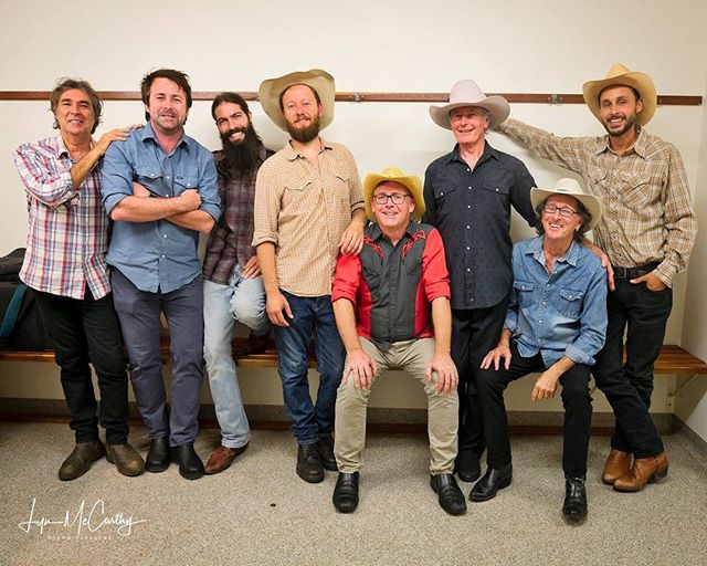 The seven piece line up includes – Ash (Buckshot) Bell on singin' and acoustic guitar strummin', Phil (Longhorn) Levy on lead guitar pickin', Steve (Forrest Ranger) Gilbert on Harmonica blowin', Rod (Rattlesnake) Coe on solid swinging' bass, Diego (Diablo) Zaragoza on steel guitar, Justin Bannister (JB Fingers) on keys and Stu (Hot Sauce) Eadie on rockin' country drums.⁠⁠ No-one gets out alive without first tapping all ten toes and howling arm in arm for more with your closest compadres. ⁠ ⁠ ⁠ ⁠ ⁠ ⁠ ⁠ ⁠ #stevepassfield #petedenahy #jodydireen #thepigs #redneckgentlemen #themumblers #haystackmountainhermits #benransom #kathrynjonessinger #simplybushed #abandcalledtwang #roundmountaingirls  #billygudgeonband #paulcosta #brothers3 #gottanisisters #jodydireen #errolgray #kevinsullivan #backwaterbretheren #jaselanksy #thrillbillystomp #thorphillips #glenmassey #jaselansky #mickalbeckandhamishdutton #kevinsullivan #thorphilips #thetincanstringband #christianpowerandthelonesometrain⁠