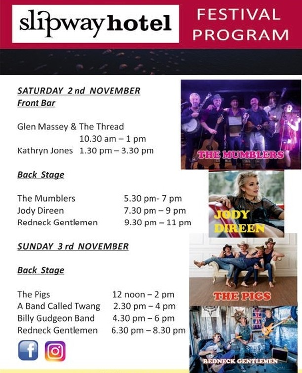 Its all systems GO here at Ballina Central. This year we welcome aboard The Slipway Hotel who are hosting some absolute cracker acts. From local lads The Mumblers & Glen Massey & the Thread, to Tamworth's playboys The Redneck Gentlemen to New Zealand's Queen of Country Jody Direen , the lineup is nothing short of brilliant. The Slipway has all genres covered. There's Rockabilly with A Band Called Twang, pumping country rock with The Billy Gudgeon Band, toe tappin' comedy act The Pigs are a not to be missed act and local cowgirl Kathryn Jones brings her good vibe with a rockin' repertoire of country favourites. Be sure to plan your festival schedule folks- its BIGGER & BETTER than Ever.   #ballinacmf2019 #ballinavenues @discoverballina #australiancountrymusic #visitnsw #cherrystsportsclub #hotelhenryrous #westtowertavern #justfunkinmusicballina #cherrystsportsclubmarqueestage #shawsbayhotel #nswgovernment #riverfm #bayfm #ballinashirecouncil #mcgrath #nbnnews #paradisefm #hertz #b&btimbers #coateshire #newscorpaustralia #ramadahotel&suites #treasurywineestate #woolworths #ballinacolourcopy #metgrono #bettahire #gregclarkbuilding #coasterkings #slipwayhotel  