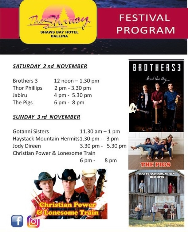 """Sure as eggs you want to catch these acts at the Shawsy. If you haven't been to the Shaws Bay Hotel, as Molly Meldrum would say """" Do yourself a favour"""". Big names such as Brothers3, Jody Direen & The Pigs will not disappoint.Local lad Thor Phillips & Ballina favourites  Jabiru make us proud and the antics of 6 piece family Bluegrass act The Haystack Mountain Hermits will have your toes a tappin' and a grin from ear to ear.  DO NOT MISS The Gottani Sisters- they will blow you away, we promise. Dance away the afternoon to Christian Power & the Lonesome Train whilst you kick off the shoes, chill out on the beautiful outdoor grassed area next to the water . You'll be """"Shaw"""" to keep the blues at """"Bay"""". Okay, Ill stop with the corny puns now.  @jodydireen @brothers3 @thorphillips @jabiru @thepigs @gottanisisters @haystackmountainhermits @christianpowerandthelonesometrain @shawsbayhotel  #ballinacmf2019 #ballinavenues @discoverballina #australiancountrymusic #visitnsw #cherrystsportsclub #hotelhenryrous #westowertavern #justfunkinmusicballina #cherrystsportsclubmarqueestage #shawsbayhotel #nswgovernment #riverfm #bayfm #ballinashirecouncil #mcgrath #nbnnews #paradisefm #hertz #b&btimbers #coateshire #newscorpaustralia #ramadahotel&suites #treasurywineestate #woolworths #ballinacolourcopy #metgrono #bettahire #gregclarkbuilding #coasterkings #slipwayhotel """