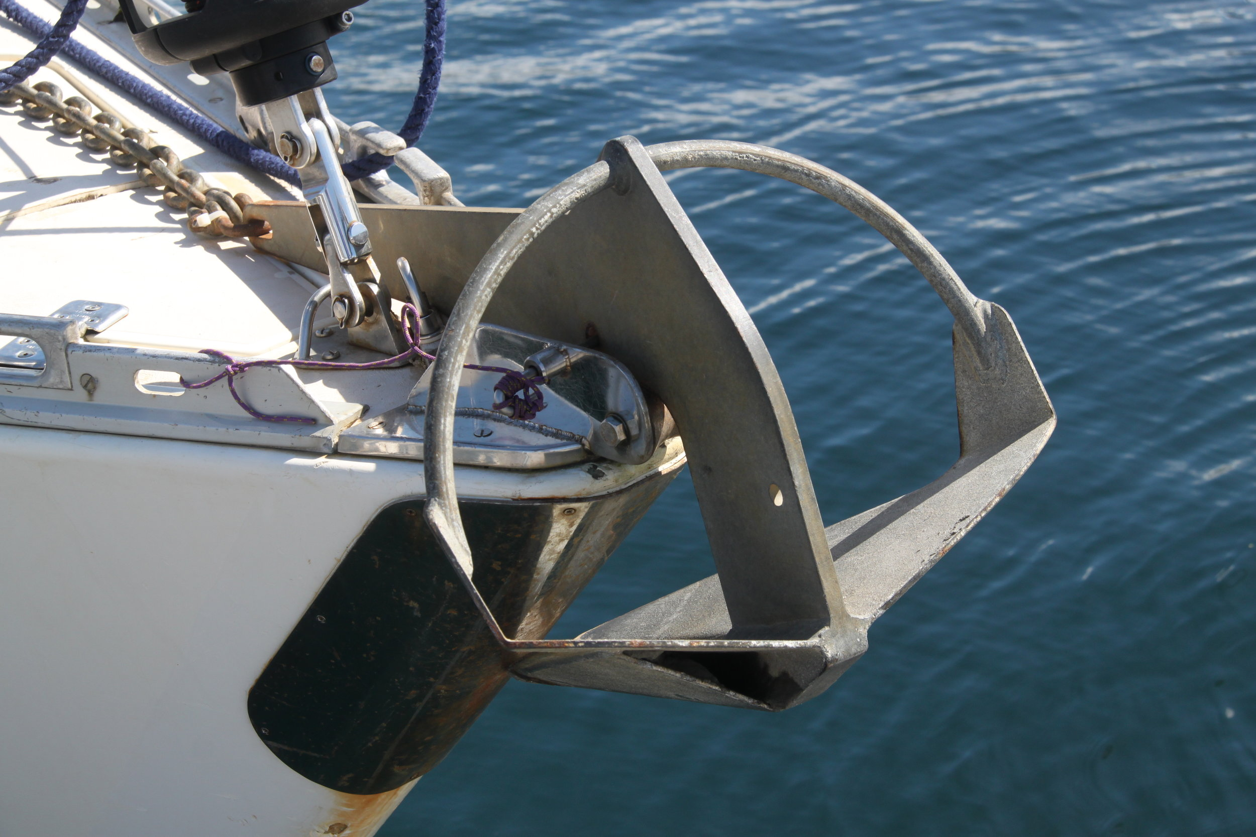 Bow roller mounting of a 13kg Knox Anchor
