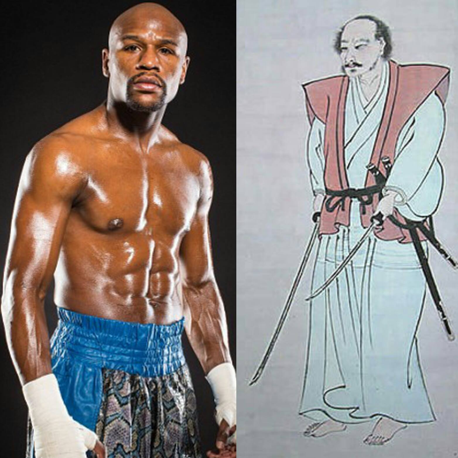 (All credit to  Daily Mail  for Floyd Mayweather picture and  historyoffighting.com  for the Musashi picture.)  Floyd may have had faster hands and nicer shorts, but in terms of accomplishments, 49-0 in boxing isn't even on the same planet as being 60-0 in fucking sword fights.